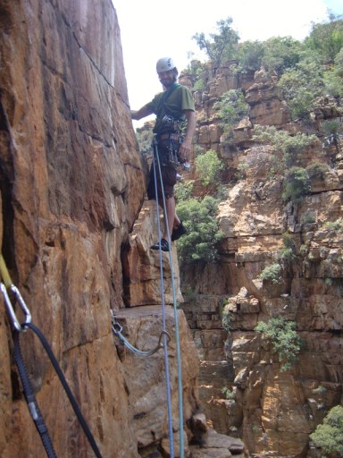 Marlo's traverse around the arete of the 2nd pitch through to the open book!