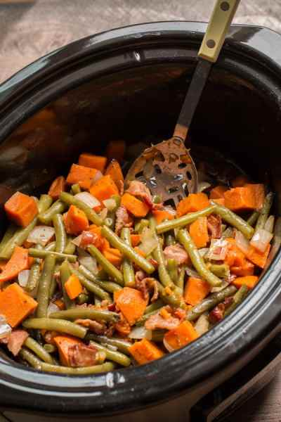Slow Cooker Sweet Potatoes, Green Beans and Bacon