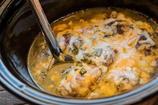 Slow Cooker Green Chile Cheesy Chicken