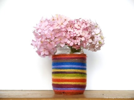 Rainbow Yarn Flower Vase : The Magic Onions : www.theMagicOnions.com
