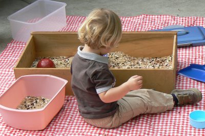 Waldorf play in a bean box