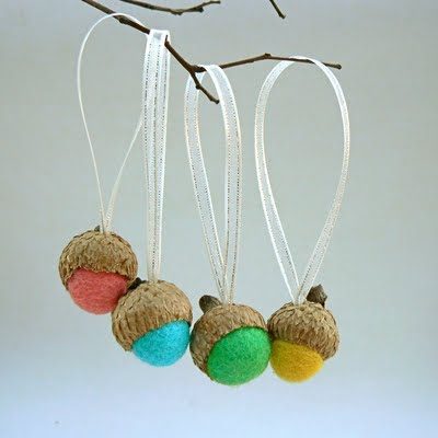 Bright and colorful felted wool acorn Christmas tree ornaments