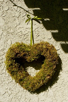 Heart shaped moss wreath for Valentine's Day