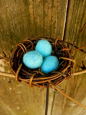 pretty blue robin's nest