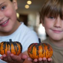 Wax Dripped Pumpkins for Halloween