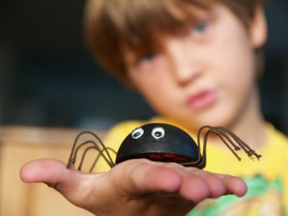 Make a Cute Wooden Spider for Halloween : www.theMagicOnions.com