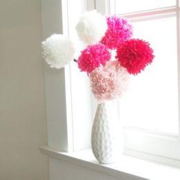 Make Pretty Pom Pom Flowers for Valentine's Day