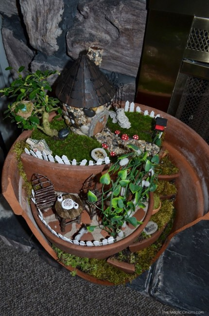 Layered Fairy Garden in a Broken Flower Pot : Fairy Garden : the Magic Onions.com