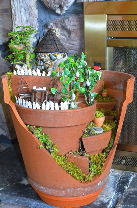 Layered Fairy Garden in a Broken Flowerpot : Fairy Garden : the Magic Onions.com