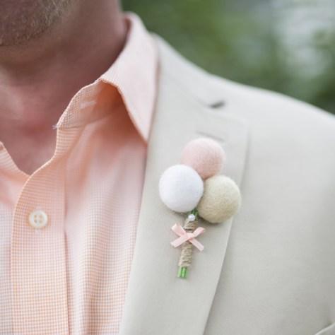 Felt Billy Button Grooms Boutonnieres : Fairyfolk Weddings : www.fairyfolkweddings.etsy.com