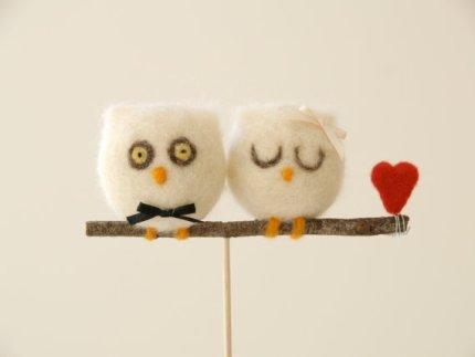 Needle Felted Owl Wedding Cake Toppers : Fairyfolk Weddings : www.fairyfolkweddings.etsy.com