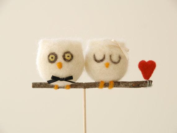 Needle Felted Owl Wedding Cake Topper : Fairyfolk Weddings : www.fairyfolkweddings.etsy.com