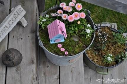 Pot Plant Fairy Garden Village : Finalist in the Fairy Garden Contest : www.theMagicOnions.com