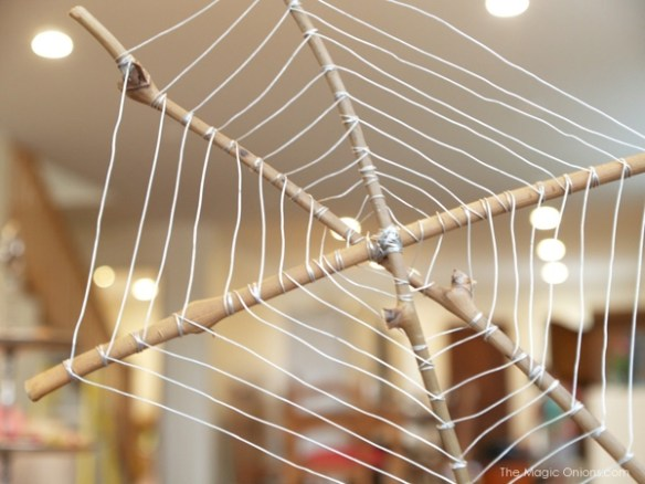 Wire and Stick Spider Web for Halloween : The Magic Onions Blog