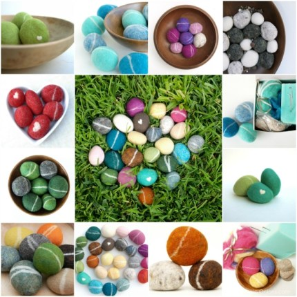 photo of needle felted pebbles