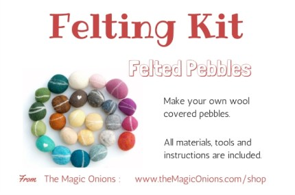 DIY felting kit photo of needle felted pebbles