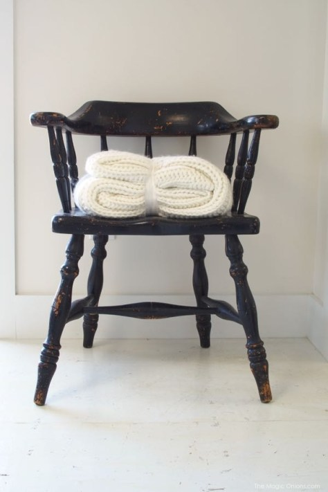Rustic Chair photo with a knitted blanket