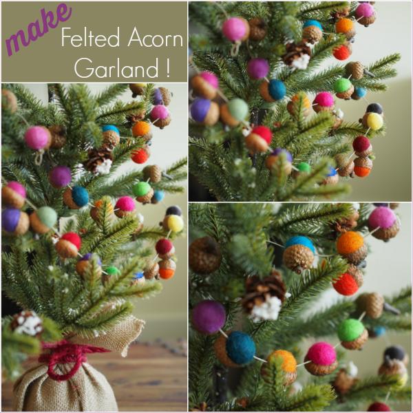 felted acorn garland diy tutorail - Felt Christmas Garland