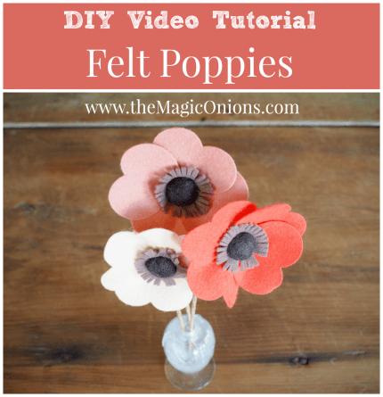 DIY Felt Flowers Video Tutorial :: www.theMagicOnions.com