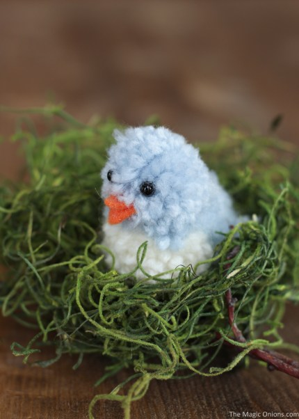 Diy pom pom blue bird craft easter and spring crafting for 2 little birds sat on my window