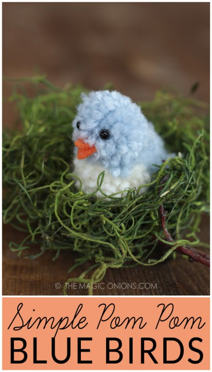 DIY Yarn Pom Pom Blue Birds for Simple Spring and Easter Crafting :: www.theMagicOnions.com