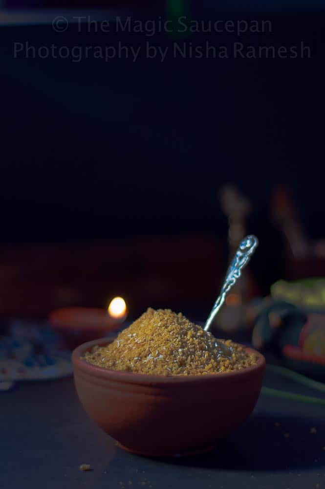 Arisi Puttu – A Traditional Tamil Sweet Made During The Festive Season. Rice Flour And Jaggery Syrup Is Mixed Together To Get A Sandy And Crumbly Textured Sweet To Snack On