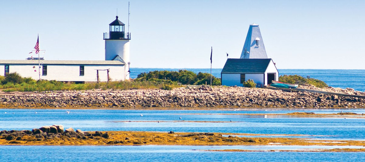 Goat Island LIghthouse in the Maine Beaches