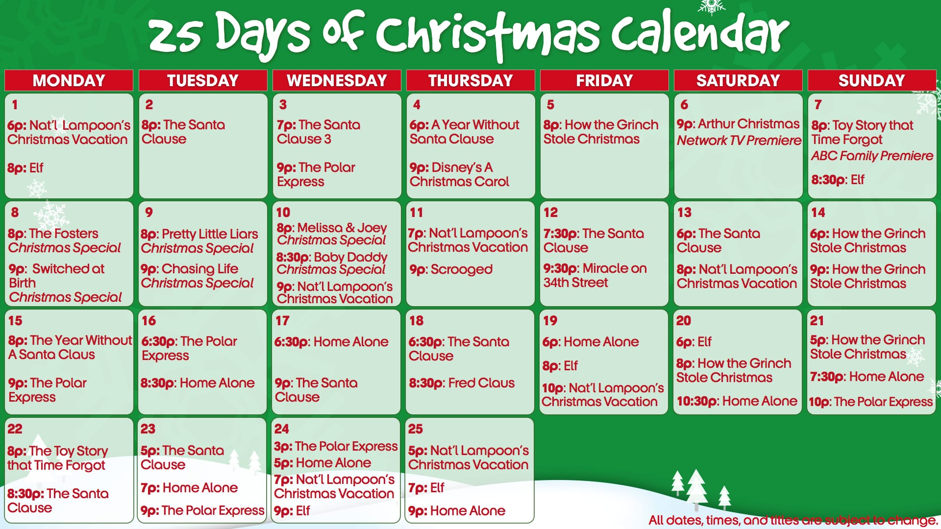 25 Days 2011 Abc Schedule Christmas Family