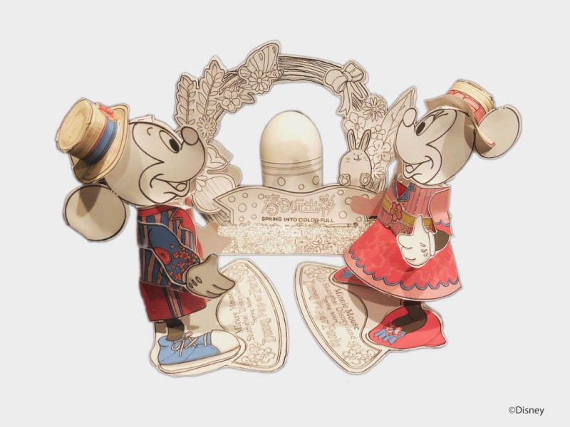 Disney Paper Parks spring-inspired outfits for Mickey Mouse and Minnie Mouse