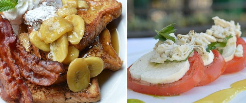 Bananas Foster French Toast with Bacon and Lobster Ravioli with Shrimp and Heirloom Tomato from Disneyland Resort