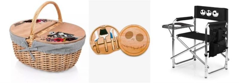 """Jack and Sally – Country Picnic Basket, """"The Nightmare Before Christmas"""" Jack Cheese Board & Tools Set, and the Jack Skellington Sports Chair"""