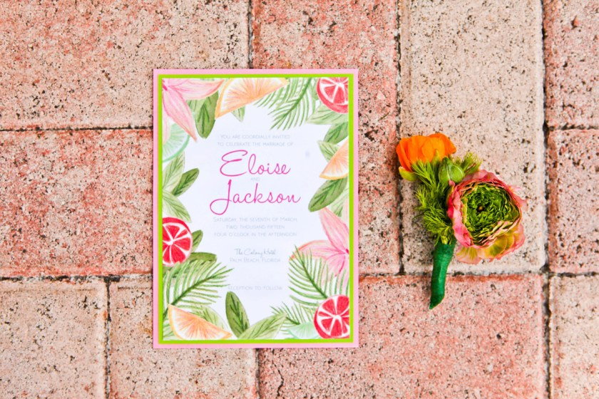 Elegant Lilly Pulitzer Inspired Palm Tree Wedding Invitation The Majestic Vision Planning