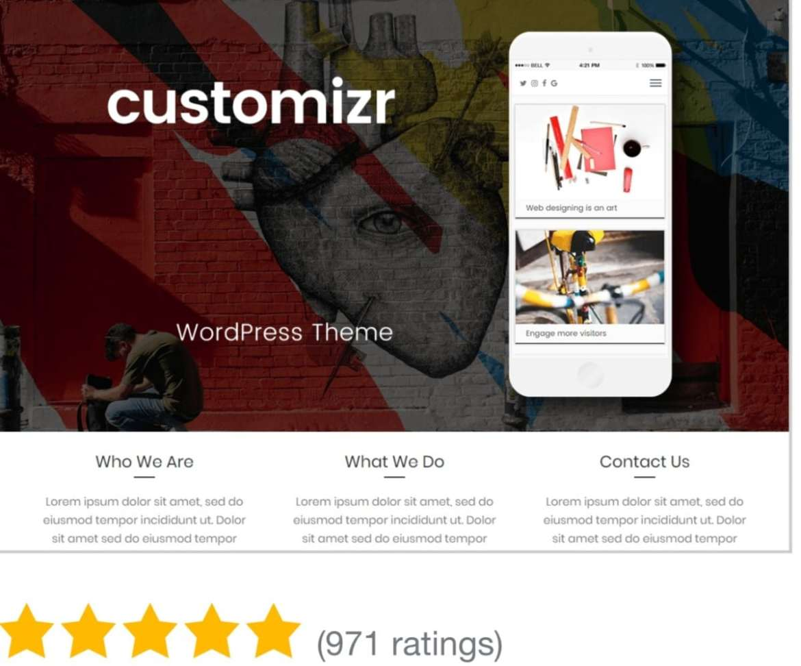 An image that displays Customize theme as one of the best free WordPress theme in 2020