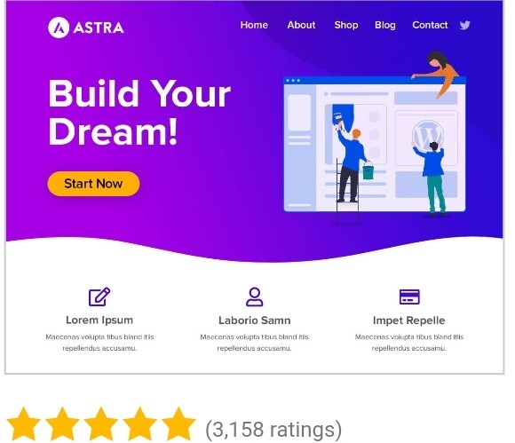 An image displaying Astra theme as one of the best free WordPress theme in 2020
