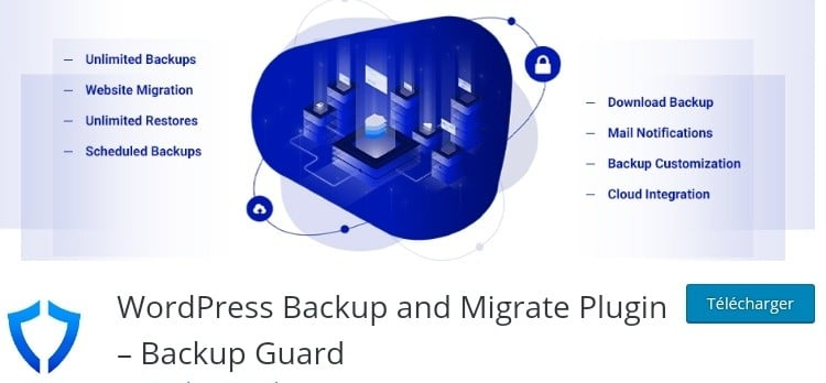 The image of a backup guard plugin with features that proves it as one of the best backup Plugins WordPress