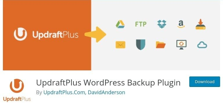 The image of UpdraftPlus Plugin with features attached as one of the best backup Plugins in WordPress