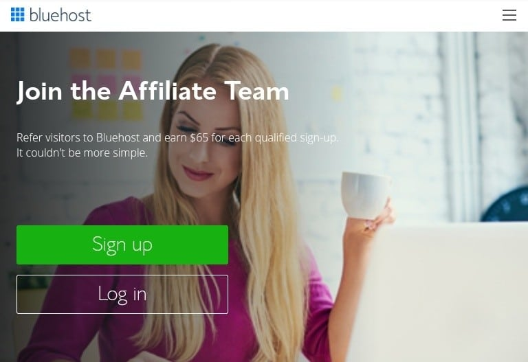 Picture of the bluehost affiliate signup that displays the signing up details
