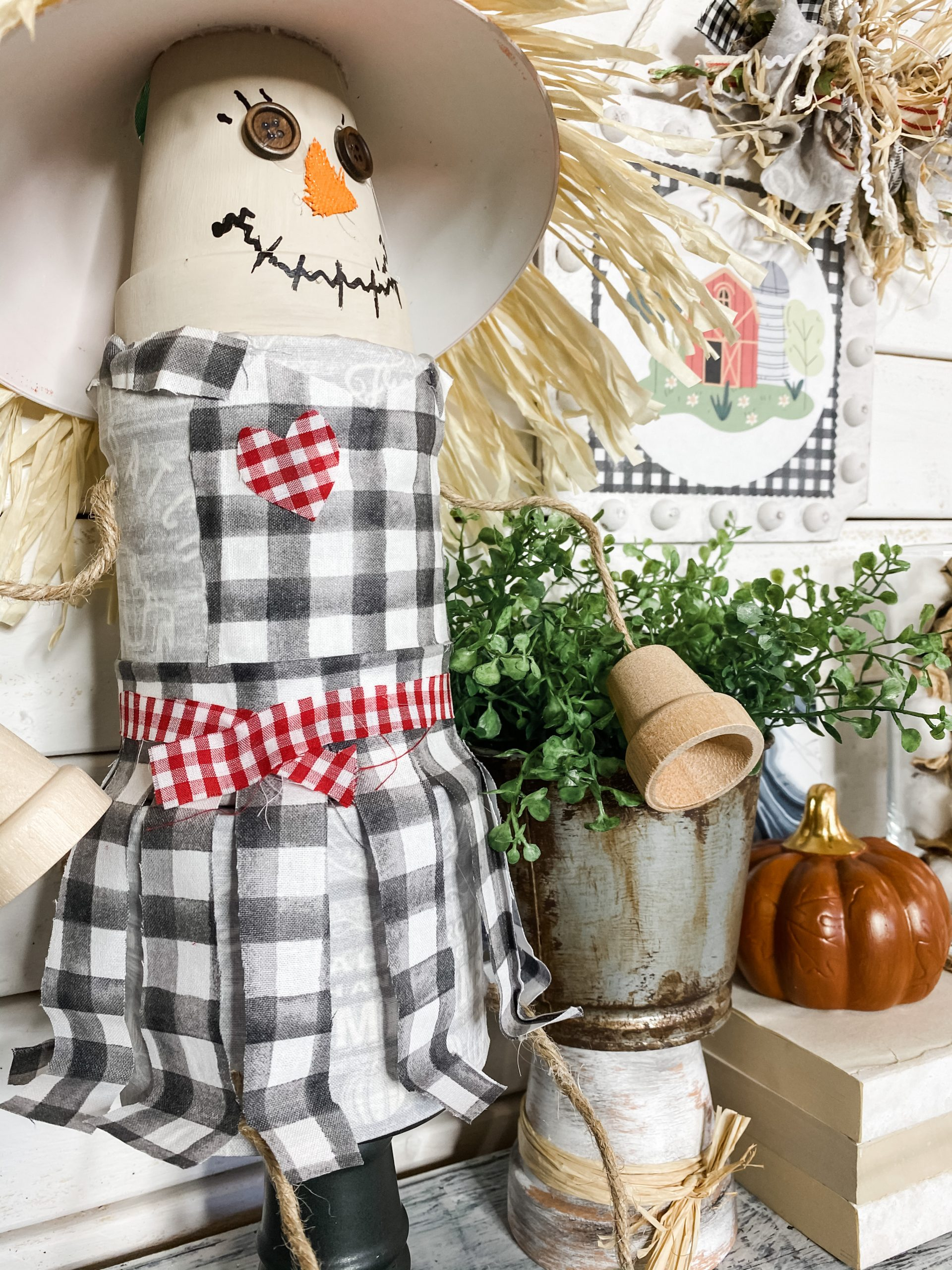 How To Make An Easy Diy Scarecrow Shelf Sitter