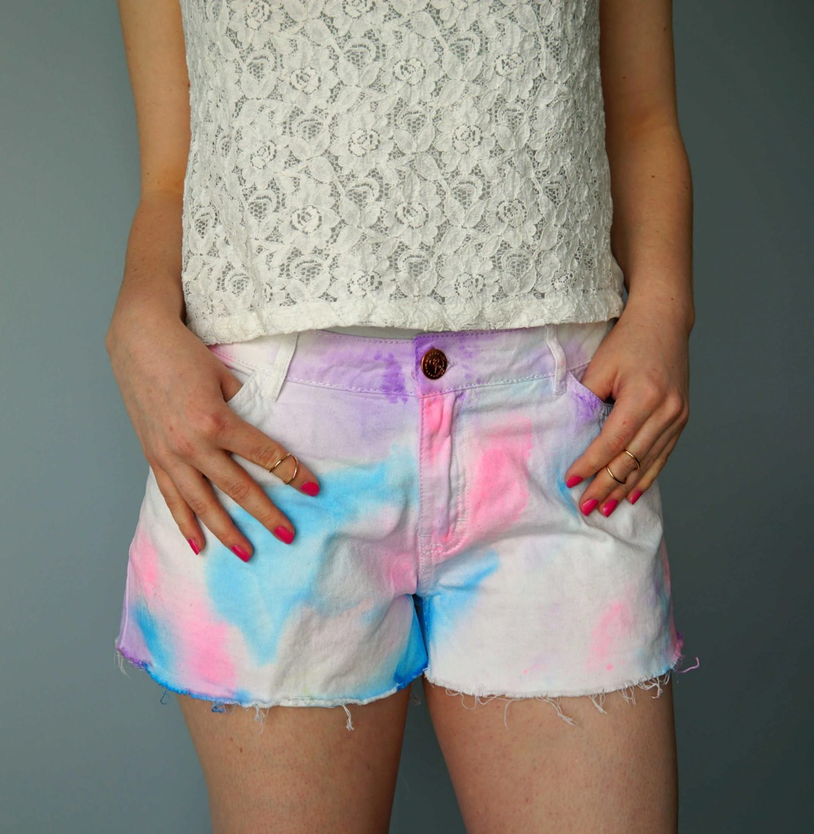Watercolor shorts DIY