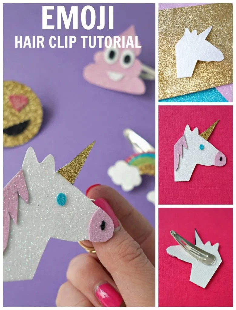 This is such an adorable craft idea! How To make your own DIY Glitter Emoji inspired Hair Clip Accessories by The Makeup Dummy