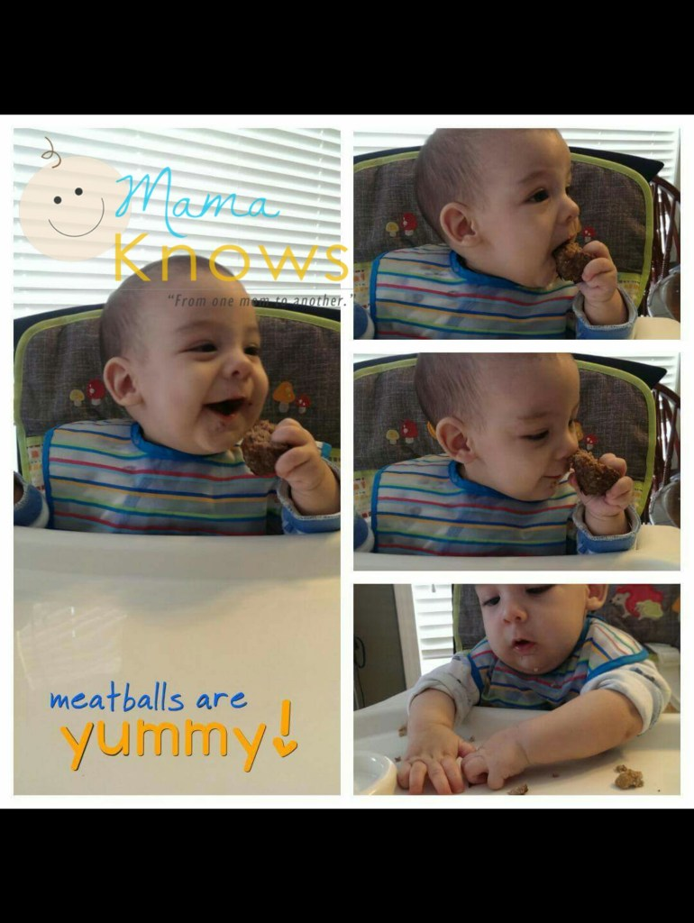 Baby eating table food at 6 months old
