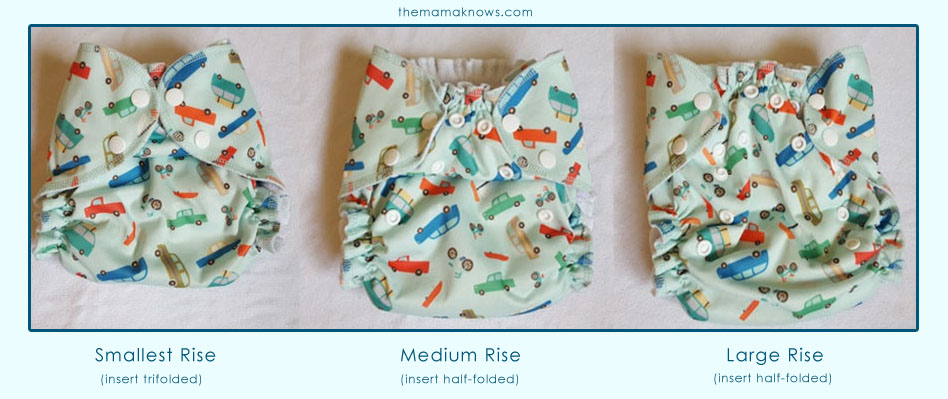 An adjustable rise offers three different size settings on the AMP One Size Duo Cloth Diaper