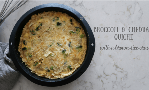 broccoli and cheddar quiche in pan