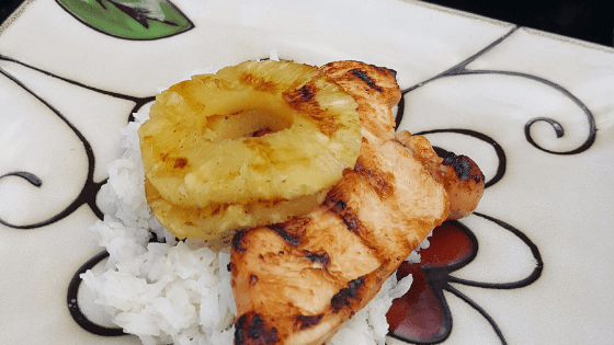 Easy Grilled Hawaiian Chicken and rice