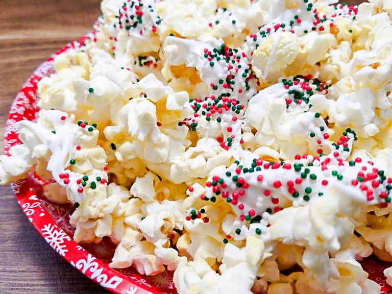 butter popcorn white chocolate peppermint christmas sprinkles red and green
