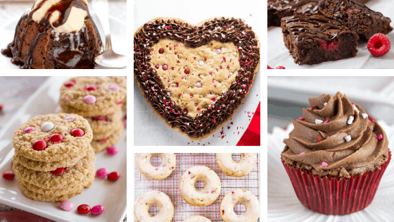heart-shaped cookie, brownie cupcake, valentine's doughnut, oatmeal cookies, molten lava cake, raspberry brownies