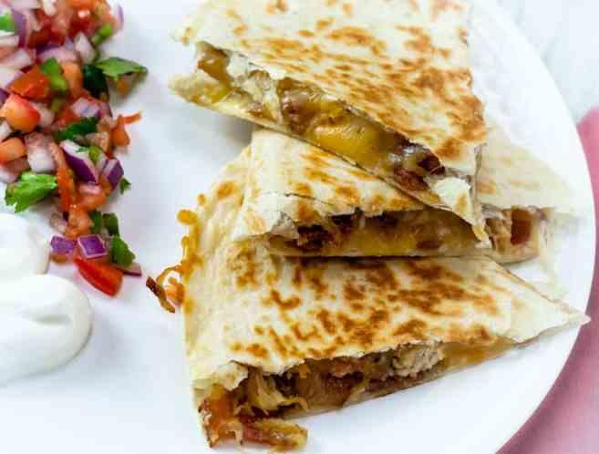 cheesy chicken and bacon quesadillas with pico de gallo and sour cream