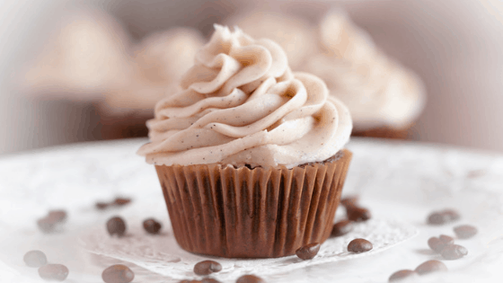 chocolate cupcakes with espresso buttercream frosting and coffee beans
