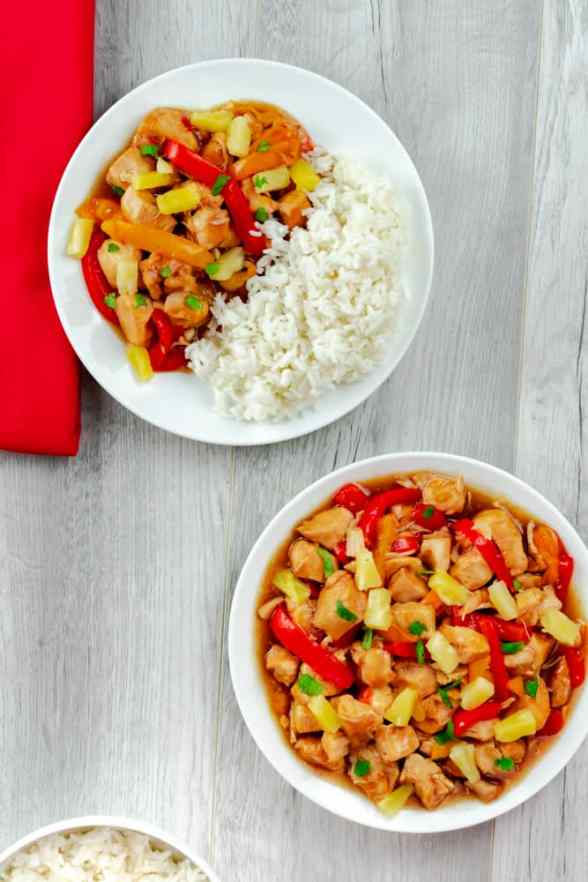 Instant Pot Hawaiian Pineapple Chicken red and orange peppers with white rice and cilantro