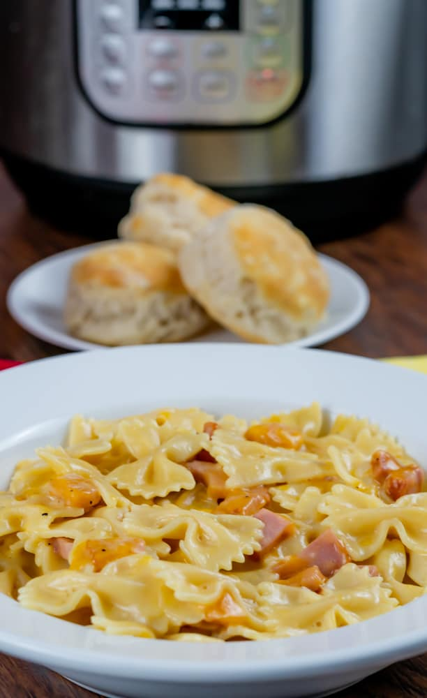 Instant Pot Ham and cheddar cheese pasta with biscuits